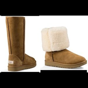 UGG Classic Tall Shearling Suede WaterRepellent Boots Roll Down Warm Cozy Winter